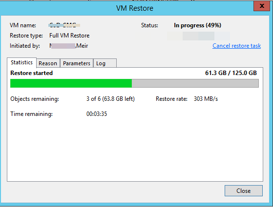 Resote entire VM using Veeam