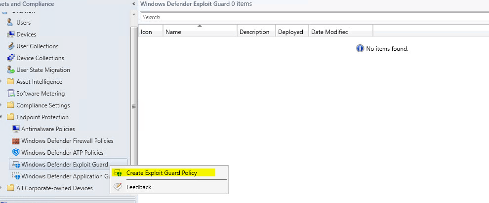Deploy Windows Defender Exploit Guard Using SCCM