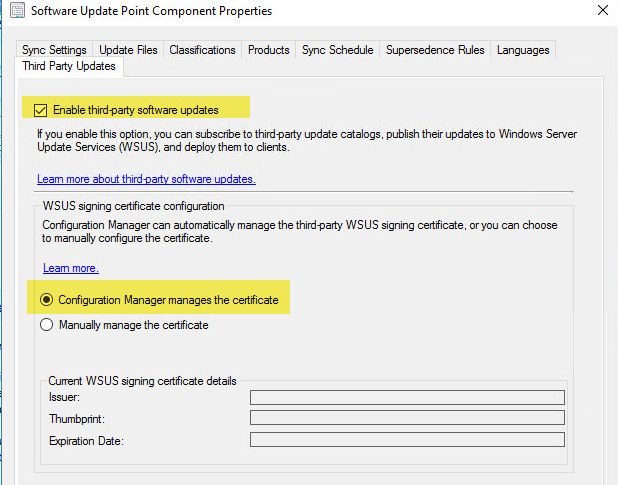 Enable Third-Party Software Updates in SCCM
