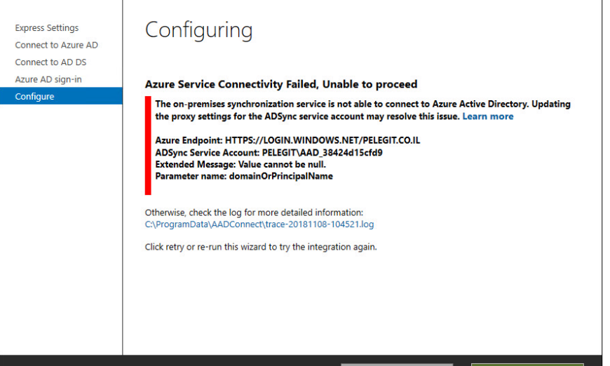 AD Connect: Azure Service Connectivity failed